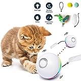 Fairwin Interaktives Katzenspielzeug Ball, Ball Mit LED-Licht und Katzenminze-Spielzeug für den Innenbereich, Lustiger Chaser-Roller, 360 Grad Selbstdrehend & USB Wiederaufladbar