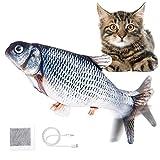 Jeteven Elektrisch Spielzeug Fisch, Katzenminze Fisch Spielzeug, Katze Interaktive Spielzeug mit USB, Simulation Plush Fisch, für Katze, Kitty Spielt, Beißt, Kaut und Tritt, Karpfen Schwarz